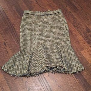 Anthropologie skirt wool lined  green 6
